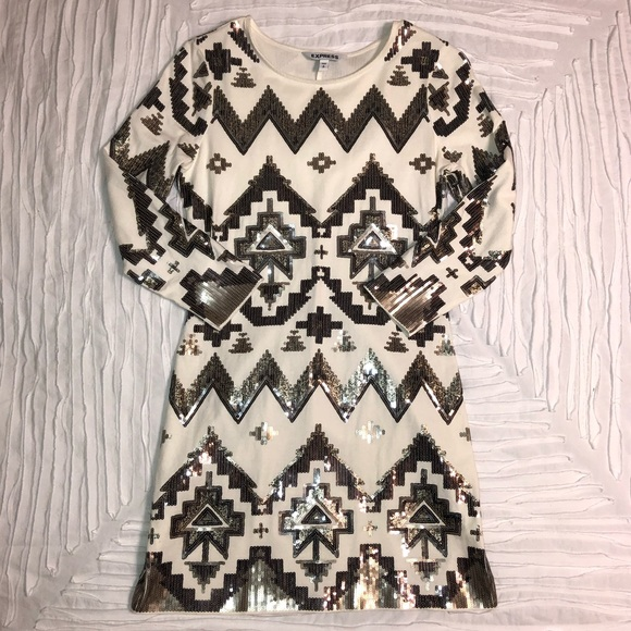 Express Dresses & Skirts - SEQUIN AZTEC PRINT body con dress